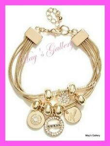 GUESS-Jeans-Rhinestones-Logo-Bangle-Bracelet-Gold-Tone-Charms-Beads-NWT