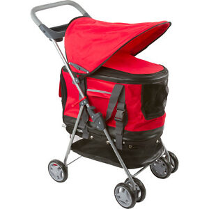 Red-All-in-one-Pet-Stroller-Carrier-amp-Car-Seat