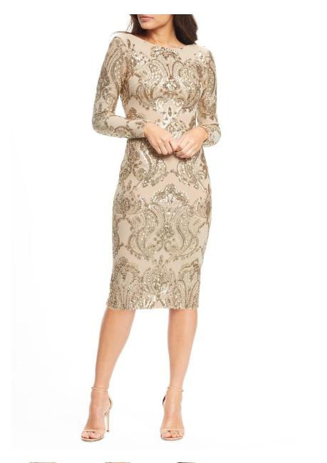 Vestido de la población Esmeril Lentejuelas  Vestido Tubo De oro Desnudo Talla S  descuento online