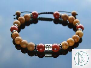 Aries-Wooden-Jasper-Birthstone-Bracelet-6-9-039-039-Macrame-Healing-Stone-Chakra-Reiki