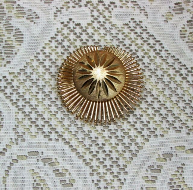 VINTAGE SCARF CLIP SIGNED WEST GERMANY LARGE TEXTURED GOLDTONE WIRE JEWELRY GOLD