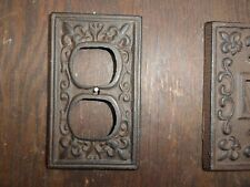 Cast iron outlet plate bronze shabby cottage fleur de lis chic and shabby too.
