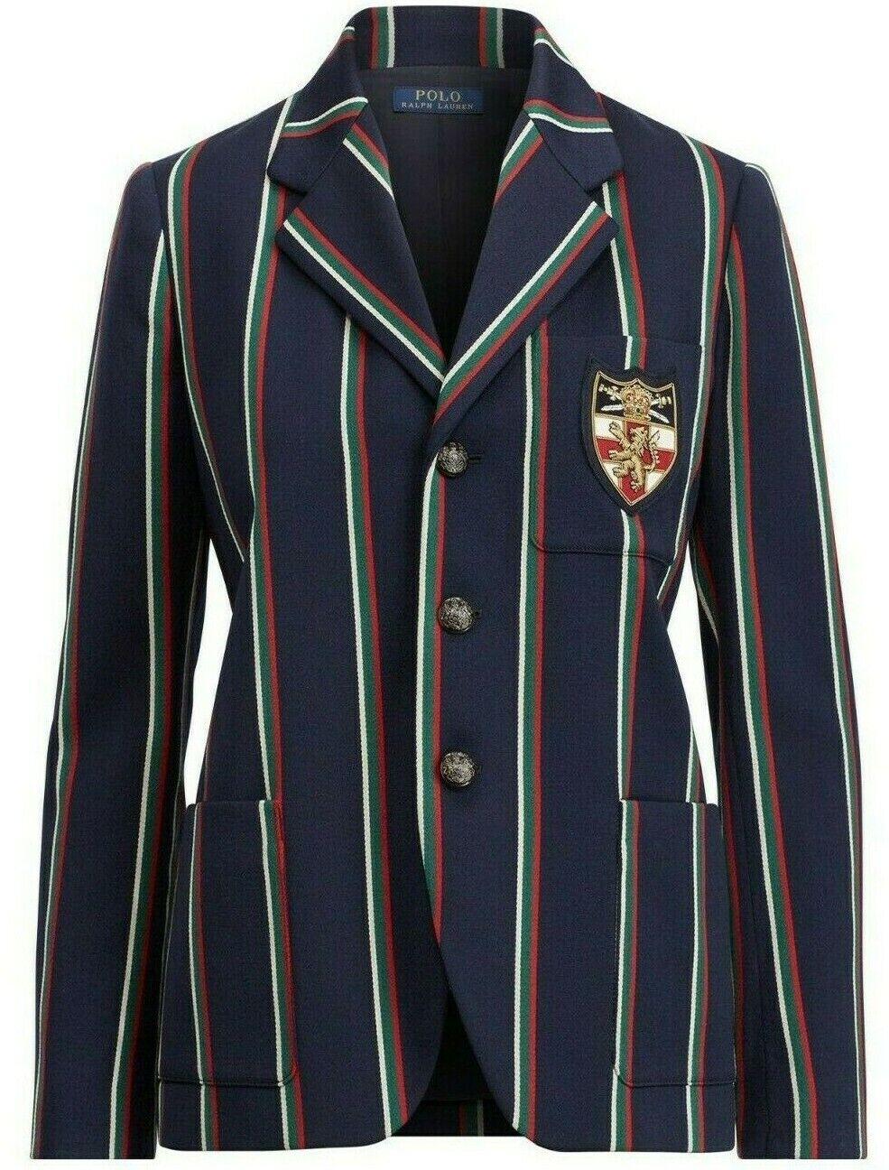 Nuovo Polo Ralph Lauren Blu Navy a Righe Lana Giacca Blazer Rosso verde 6 8 10