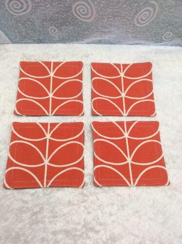2 réversible Coasters Handmade Orla Kiely Linear Stem Tomate /& tissu gris