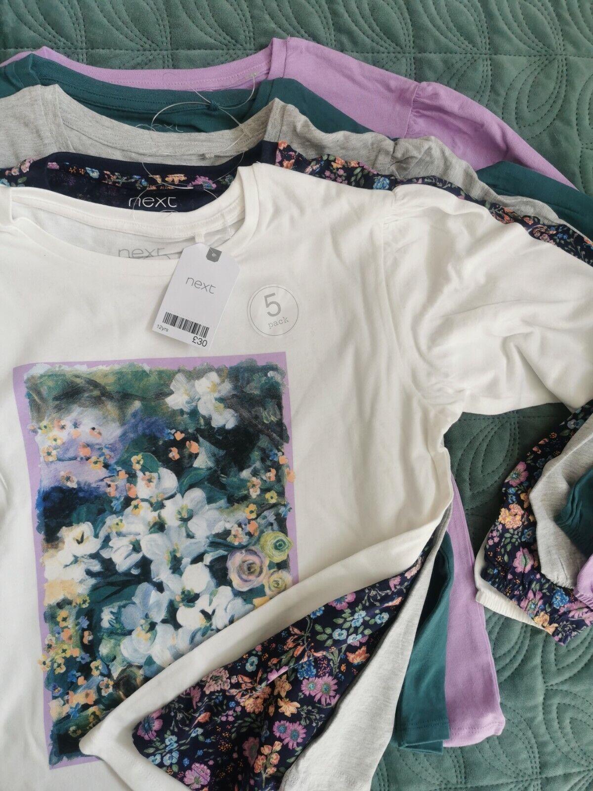 ** 5x NEXT Girl Tops T-shirt floral Ditsy plain blouse Vintage green lilac