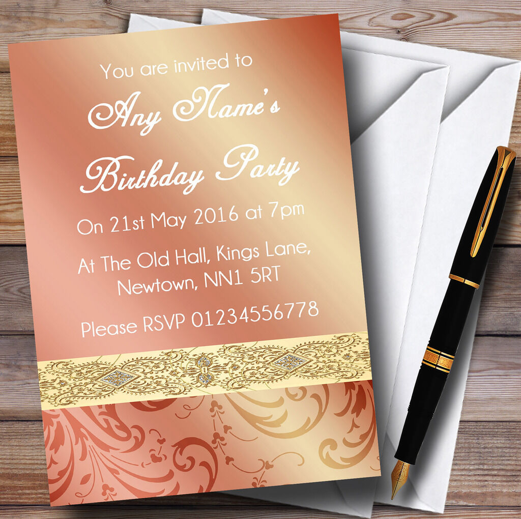 Peach Coral Damask Birthday Party Personalised Invitations Invitations Invitations 379a03