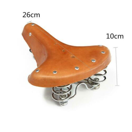Vintage Classic Genuine Leather Bicycle Cycle Retro Bike Saddle with Spring Seat