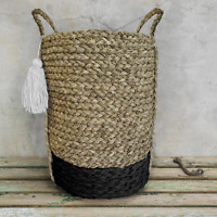 Large Black White Tassel Storage Basket Seagrass Planter Toy Laundry Bian Tall