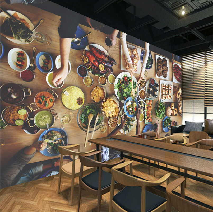 3D Rich Table Food 535 Paper Wall Print Wall Decal Wall Deco Indoor Murals