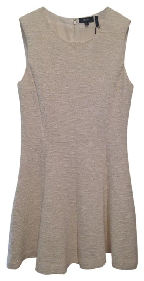Theory Womens Ivory Sleeveless Madison Tweed Dress 8 New NWT