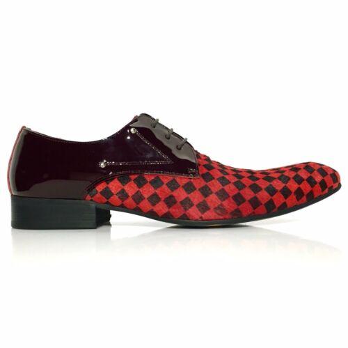 verni Design en Chaussures cuir Damier Oxford Pony Noir Hair Rouge hommes Zota pour MpqVzSU