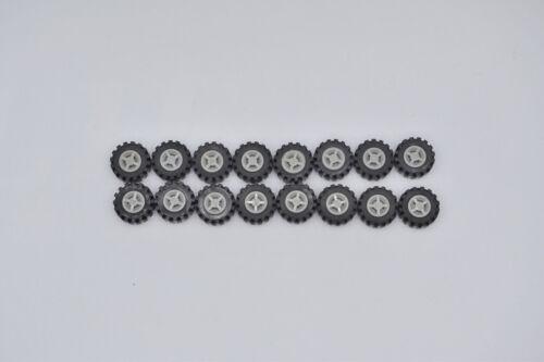 LEGO 16 x Rad Reifen 14x6 mit Felge althell grau 3641 4624 oldgrey gray wheel