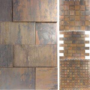 Details zu Kupfer Metall Design Mosaik Fliesen Amadora | Küche Boden Wand  Fliesenspiegel WC