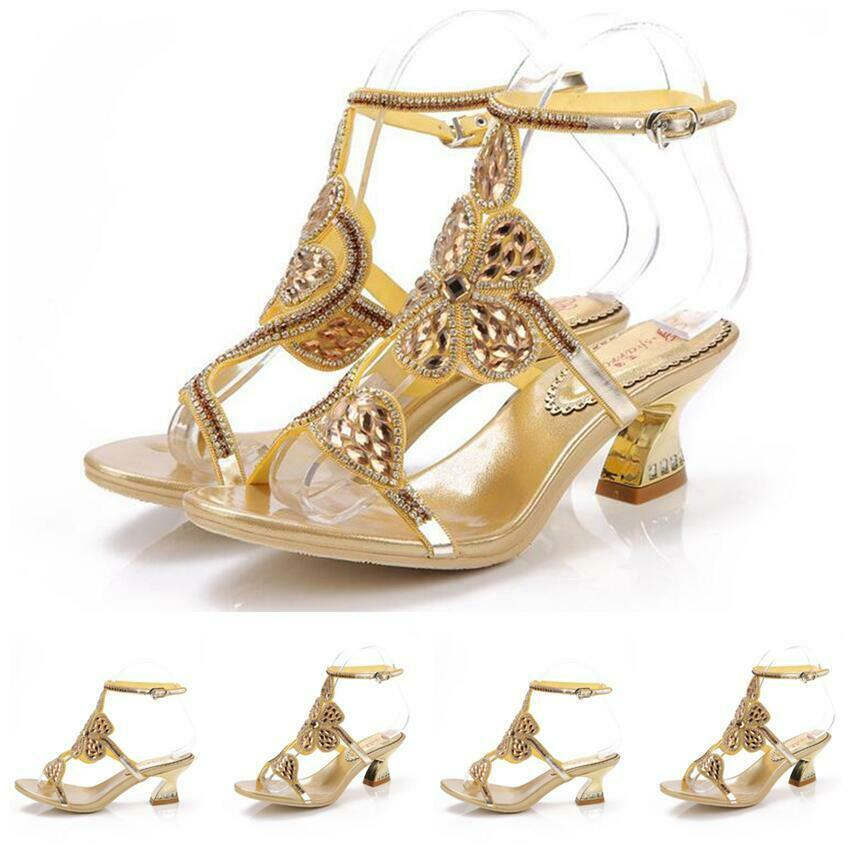 Buckle Rhinestone Flower Pumps Womens shoes Top Sandals Open Heel Ankle Strap