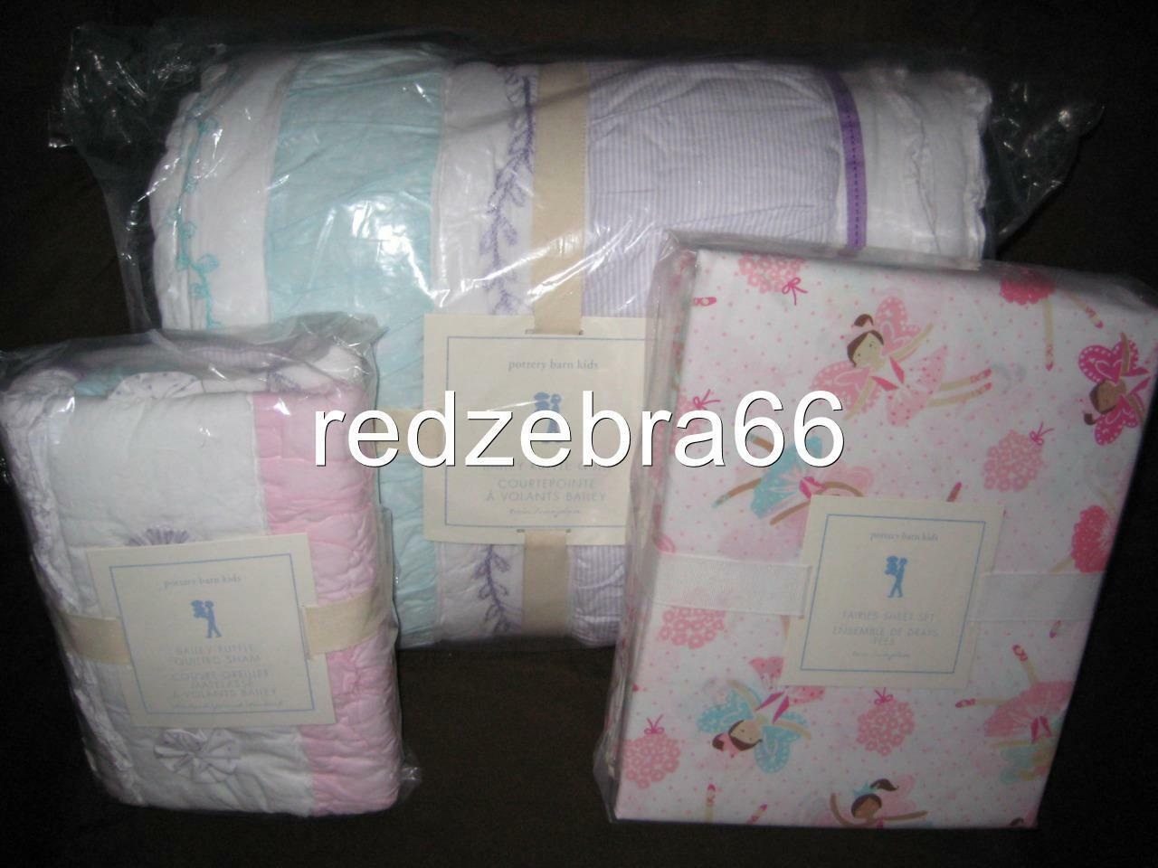 POTTERY BARN Kids Bailey volants Twin Quilt Sham Fée Feuille Set Aqua Rose 5-pc