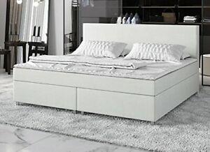 Details Zu Boxspringbett 140x200 Doppelbett Designerbett Boxspring Bett Kunstleder Weiß Neu