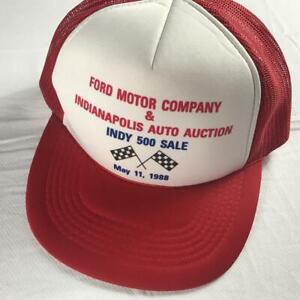 Ford Snapback Hat VTG 1988 Indianapolis Indy 500 Auto Auction Foam Front Motor