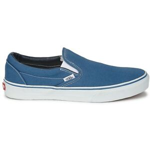Vans Classic Slip On Navy Blue White Mens Womens Canvas Shoes Sizes ... 908d74fbea2d