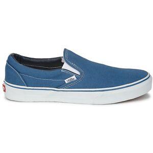vans classic slip on navy blue white mens womens shoes