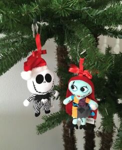 Details About Disney Nightmare Before Christmas Jack Sally Plush Holiday Ornaments New