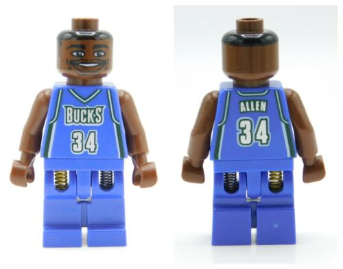 Milwaukee Bucks #34 Basketball Lego Minifigure NBA Ray Allen