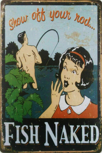 Fish Naked Signs Retro Pub Bar Vintage Wall Poster Beer Garage Shed