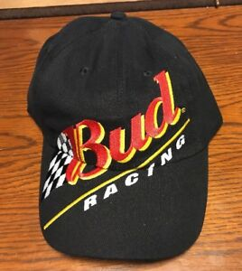 Details about Bud Racing Snap Back Hat Black Baseball Cap One size fits most