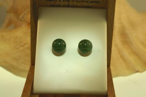 8 mm natural jade jade étalonné ballon rond argent 925 post Boucles d/'oreilles Clou