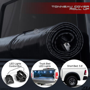 For 2009-2018 Dodge Ram 5.7' Short Bed Lock & Roll-Up Tonneau Cover+LED Lights