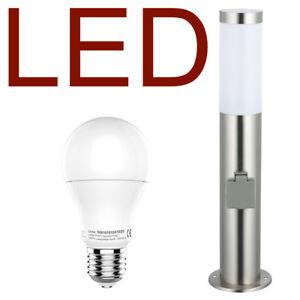 Details Zu Led Außenleuchte Mit 2 Steckdosen Edelstahl Außenlampe Hoflampe Gartenlampe