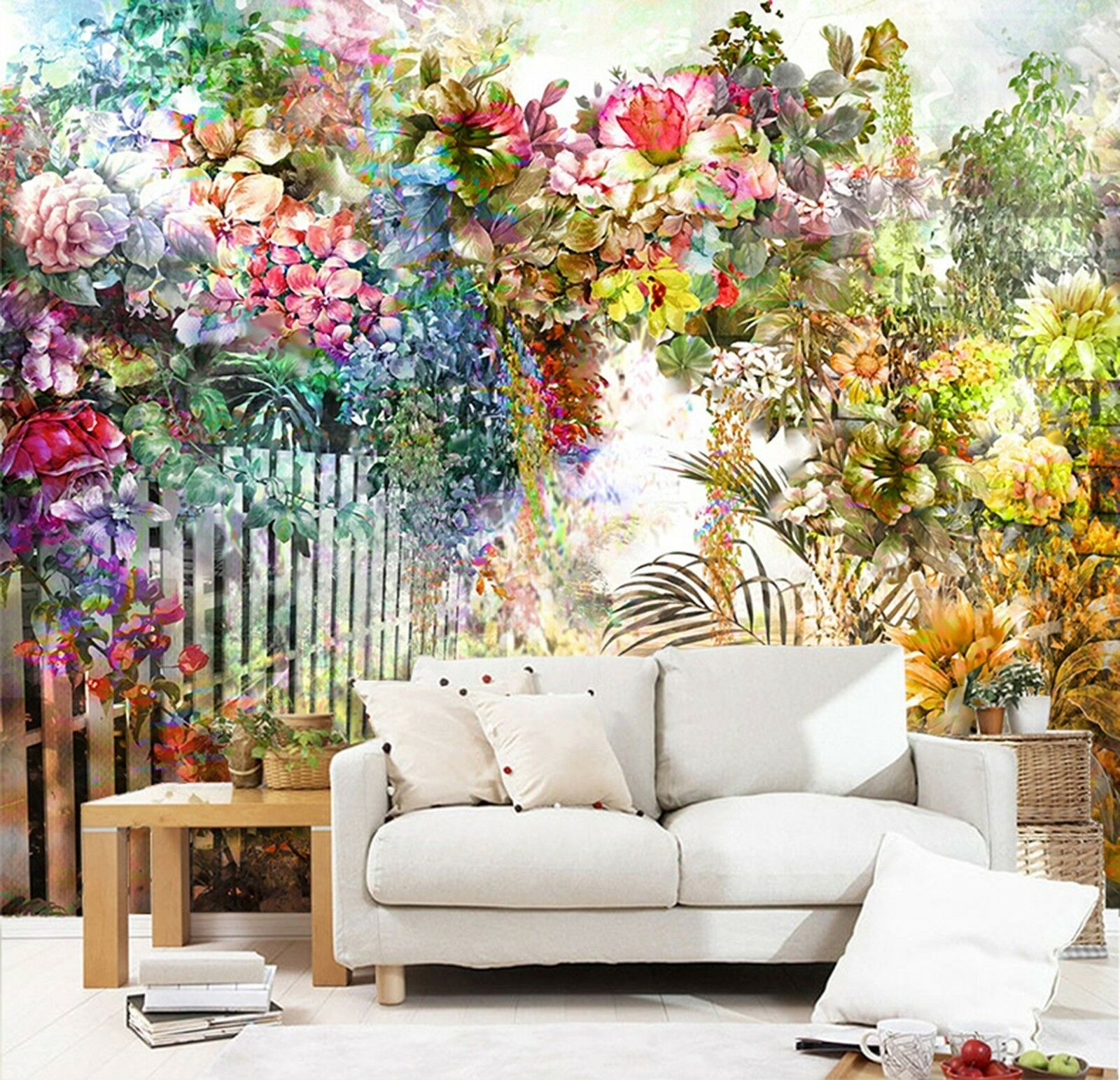 3D Flowers sunlight arch Wall Paper Print Decal Wall Deco Indoor wall Mural