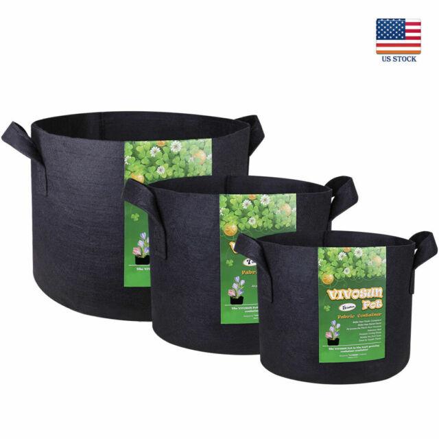 VIVOSUN 5 Pcs Fabric Plant Pots Grow Bags Root Planter2,3,5,7,10,15 20,30 Gallon