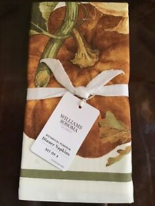New-William-Sonoma-Botanical-Pumpkin-Dinner-Napkins-Set-Of-4