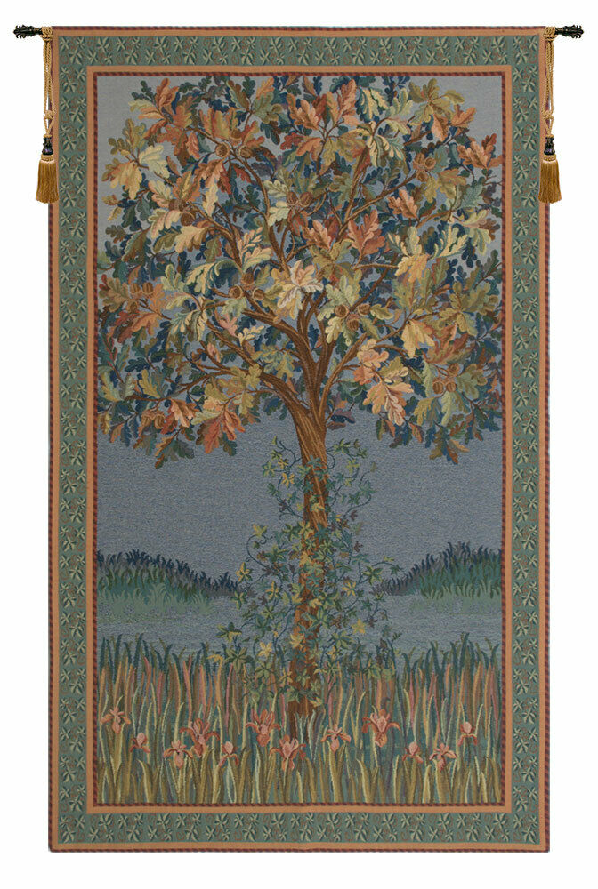 Tree of Life Flanders Belgian Woven Decor Wand Hanging Tapestry 32 x 18