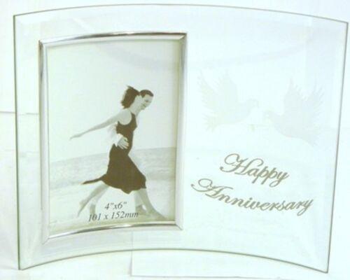 Glass Photo Frame happy wedding anniversary époux Wife Poison Award Trophy b2