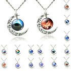 Fashion Various Galaxy Universe Crescent Moon Style Cabochon Necklace Pendant