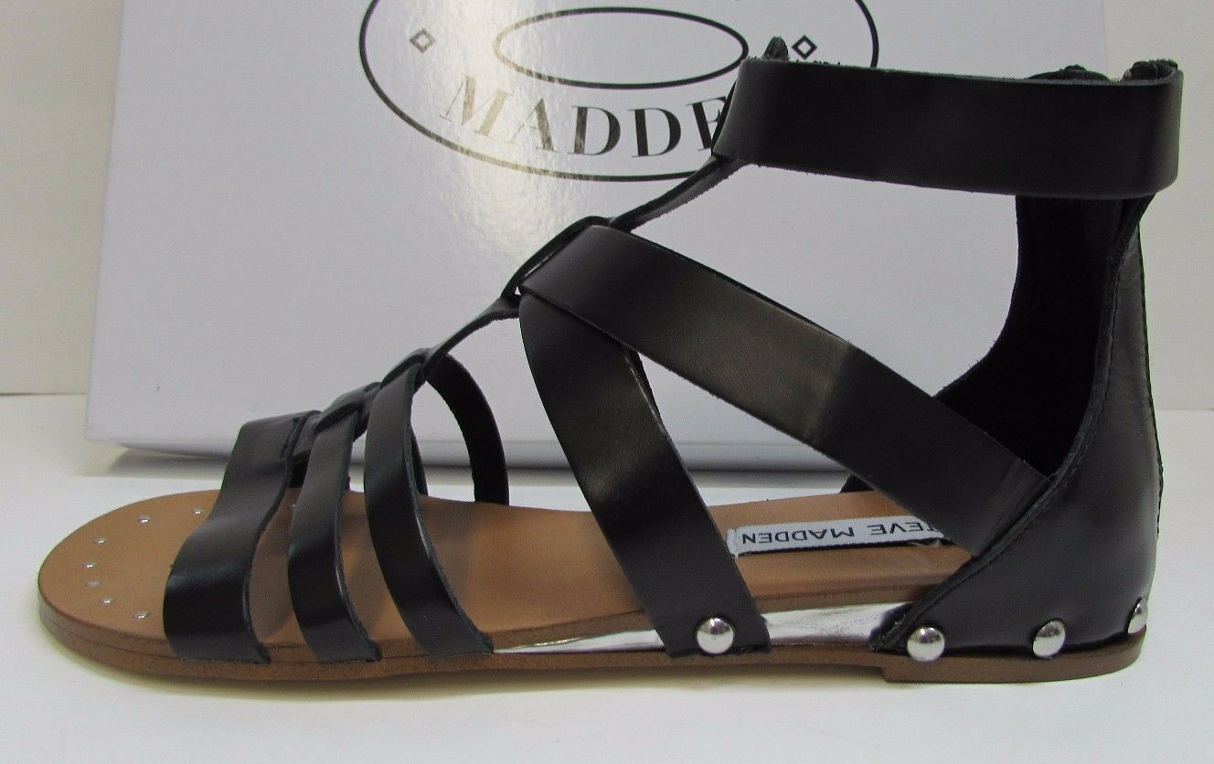 Steve Madden Size 6.5 Black Leather Sandals New Womens shoes