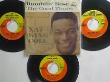 """LOT OF 4 ' NAT """"KING"""" COLE' HIT 45's+1PS  [THE CHRISTMAS SONG]      THE 60's!"""