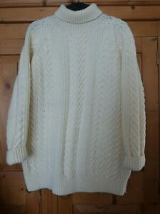 Ladies-Chunky-Cream-Cable-Knit-Aron-Polo-Neck-Jumper-Size-14