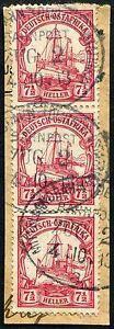 02-Deutsch-Ostafrika-1913-Bahnpost-Mittellandbahn-Zug-2a-Briefstueck-3er-Streifen
