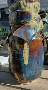Art-pottery-vase-vintage-signed-C-Lee-HANDCRAFTED-CLAY-PIECE