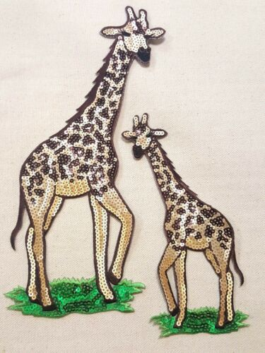 "2p 9/"" /& 6/"" Lg Sequin Wild African Animal GIRAFFE BABY IRON ON EMBROIDERED PATCH"