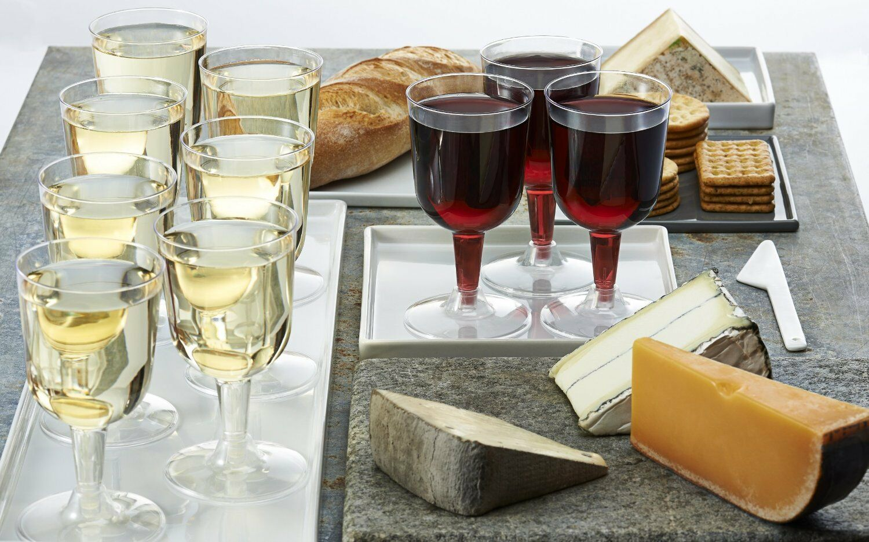 6oz Disposable CLEAR PLASTIC Elegant Design Round WINE GLASSES Party TABLEWARE