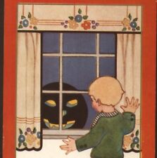 EVIL,GRINNING BLACK JOL PEEKS IN BOY'S WINDOW,HALLOWEEN,WHITNEY,VINTAGE POSTCARD