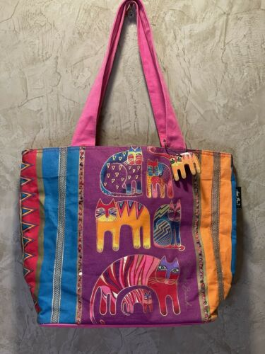 Laurel Burch Large Tote Bag Cat Theme