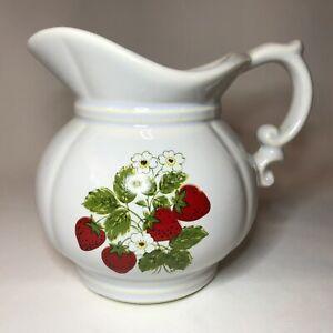 Vintage MCM McCOY USA Pottery Strawberry Pitcher Retro Farm Kitchen Decor
