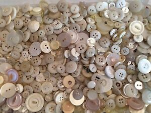 1 pound Vintage plastic buttons lot white ivory craft Free Ship