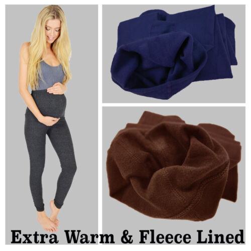 WOMENS LADIES MATERNITY WINTER THERMAL WARM THICK FULL LENGTH LEGGINGS