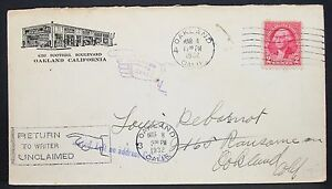 US-Gas-Station-Cachet-Adv-Cover-Oakland-Unclaimed-Returned-1932-USA-Brief-Y-388