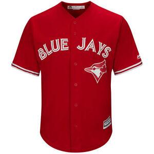 Toronto Blue Jays Majestic Red Scarlett Alt Cool Base Replica Jersey Large Leaf